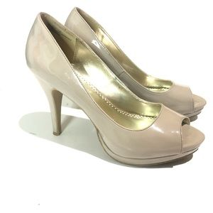 Rampage Gracee Peeptoe Heels Taupe Size 11